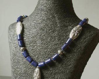 "Necklace set ""Indian walk"" collection ""Distant Asia"" lapis lazuli and silver."