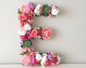 "Flower Letter, 19"" or 24"" Letter, Boho Letter, Floral Letter, Baby Shower Letter, Wedding Letter, Nursery Wall Art, Boho Nursery Decor"