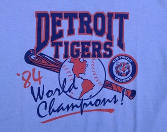 1984 Detroit Tigers World Champions Grey vintage t-shirt Deadstock Made in USA Jerzees by Russel Large