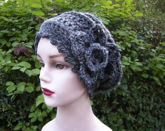 "Hat crochet Beanie Hat Cap ""Emilie"" - grey melange"