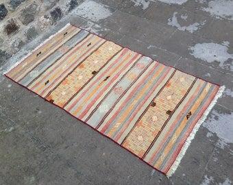 Turkish Rug, Oushak Rug, Kilim Rug, Vintage Rug, Area Rug, Rug, Carpet, Handmade Rug, Anatolian Rug, Decorative Rug/152x80 cm 60x31 inches
