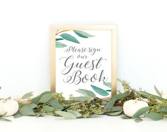 Eucalyptus Bohemian Floral Please Sign Our Guestbook Wedding Sign | Boho Herbal Guestbook Sign | Greenery Leaf Party Printables | EUC1174