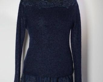 Navy soft mohair sweater.