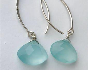 Aqua Earrings Aquamarine Chalcedony Earrings Silver Earrings March Gift  March Earrings Gemstone Earrings