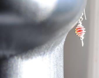 Handmade, women's earrings,  silver dangle and drop red crackle bead earrings