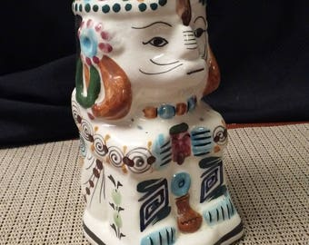 Cup/Vase ceramic Spanish figure made in the Mediterranean in the mid to late 1900s