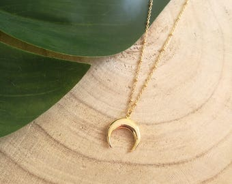 Necklace double Horn gold plated