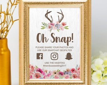Printable Wildflowers Faux Bois Rustic Antlers Social Media Wedding Event Hashtag Sign, 2 Sizes, Editable PDF, Instant Download