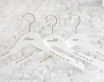 Bride Hanger, White Wedding Hanger, Wedding Dress Hanger, Personalized Bridal Shower Gift, Personalized Hanger, Bridesmaid Proposal H11
