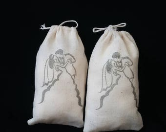 Wedding Favor Bags, Hand Stamped Bags, Wedding Sweet Bags, Rustic Wedding Favor, Muslin Favor Bags, Candy Buffet Bags, Wedding Candy Bags