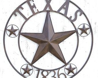 Round Metal Texas Star Sign, Texas 1836 Sign, Rustic Farmhouse Wall Decor,  Industrial