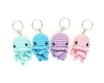 Amigurumi Jellyfish Keychain - Cute Baby Jellyfish, Stuffed Animal