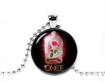 Magical Rose Necklace Enchanted Magical Rose Pendant Once upon a time Fandom Jewelry Fangirl Fanboy