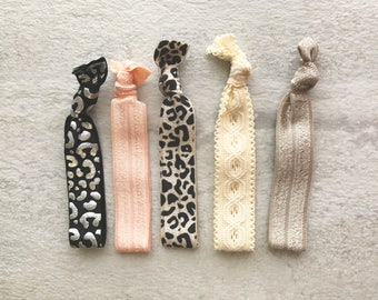 5 pack leopard black pink tan white elastic hair ties set