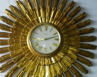 VINTAGE SUNBURST Wall CLOCK from The 1960's