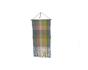 Stunning vintage retro 60s Wall hanging handwoven Tapestry with pastel colors. Made in Sweden Scandinavian.
