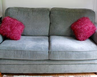 Hand Knitted Fluffy Cushion