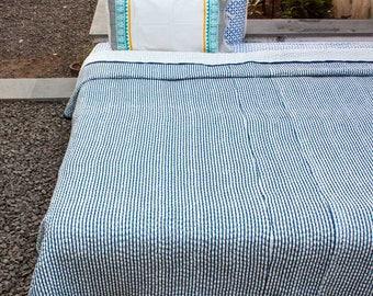 Handmade Kantha Quilt, Kantha Bedspread, Kantha Blanket, Indian Kantha Throw, Kantha Bedcover, Quilted Bedspread, Reversible Cotton Quilt