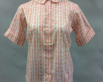 1950's 1960's Vintage Blouse with Pink Floral Print Made by Shapely Classic Size Large | Button Up Shirt