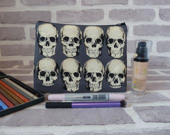 Skull makeup bag, skull pencil case, school supplies, skull bag, Christmas present, Birthday present, gift for her, back to school