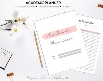 Student Planner, Academic Planner Printable, 2018 Student Planner, Study Planner, College Planner, Printable Planner