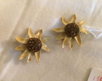 BSK Earrings - Sunflower, 1930's, Clip-On