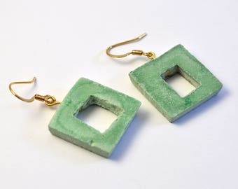 Square earrings woman, concrete green/blue, lace pattern collection. Chin.