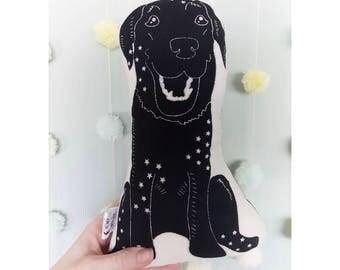 Dog Plush, Labrador Gift, Dog Soft Toy, Stuffed Animal, Decorative Pillows, Screen Print Cushion, Black Labrador, Dog Plushie, dog lover