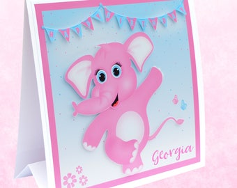 Children's Birthday Card Personalised  3D Elephant. Kids Birthday Card 1st Birthday Card. 2nd Birthday Card Girls Birthday Card