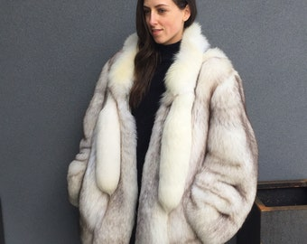 Absolutely Stunning Vintage, Authentic Blue Fox Fur Jacket