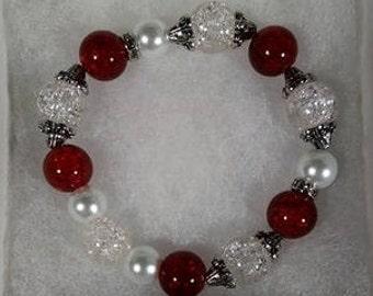 Valentines day gifts for girlfriend, stretch bracelets, beaded bracelets, Beaded Stretch bracelets, Red, Black, Charm Bracelets, Bracelets