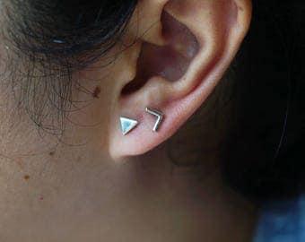 Chevron Triangle Stud Earrings,double Piercing Earring,silver Chevron Triangle Studs,mix And Match Studs,minimal Earrings,arrow Stud