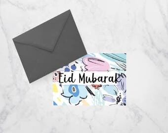 Eid Mubarak Printable Greeting Card, Floral Greeting card for Muslims, Eid Kareem, Happy Eid Marble, Pink and Floral Card for Muslims