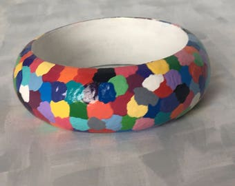 Rainbow Bracelet, Rainbow Bangle, Bangle Bracelet, Handpainted Bracelet, Wearable Art, Handpainted Jewelry, Original Art