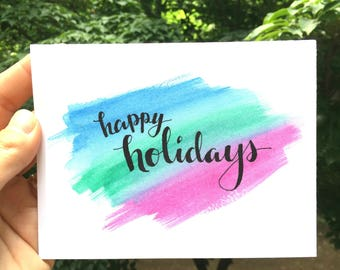 Instant Download, Printable, Holiday Card, Happy Holidays, Blue, Green, Pink Watercolor Design, Blank Inside