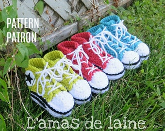 San's BABY High Top Slippers crochet pattern - shoes, sneakers, basket, footgear, footwear, feet - pdf file, digital download ONLY
