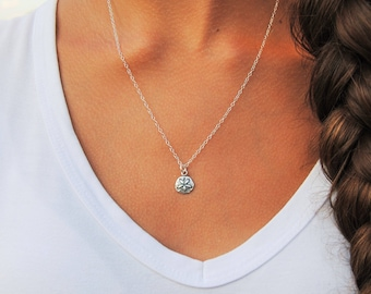 Sterling Silver Sand Dollar Necklace   Beach Necklace   Sand Dollar Charm   Sterling Silver