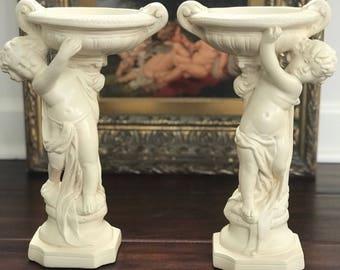 Cherub pedestal fountain statue pair, by Alexander Backer, ABCO, plaster, ivory white, home decor, french renaissance.