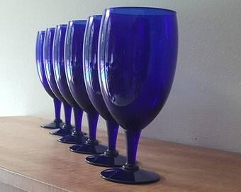 Blue Wine Glasses~Cobalt Blue Glass Goblets~Large Wine Glasses~Blue Goblets Set of 6 Water Glasses or Goblets