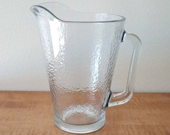 Libbey Crisa Frost Water Pitcher~Frosted Clear Glass Pitcher~Libbey Glass Pitcher
