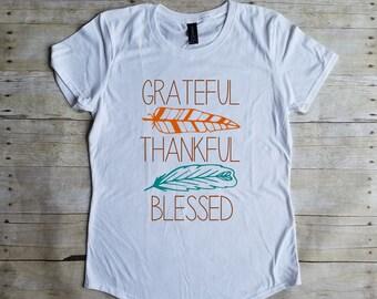 Grateful Thankful Blessed Thanksgiving Shirt