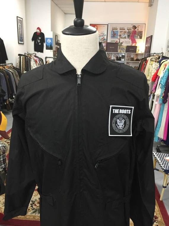 Men's Black Flight Suit with Removable Velcro Chest Patch