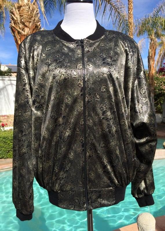 Gold and Black 90's  Floral Bomber Jacket,Vintage .