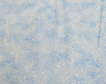 Ice Frost-Light Blue Swirls-Cotton Fabric from Timeless Treasures