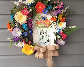 Spring Wreath for Front Door Wreath, Spring Wreath, Summer Wreath, Religious Wreath, Mason Jar Wreath, Floral Wreath, Spring Decor