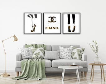 Chanel wall decor Chanel print Chanel logo Print wall art Chanel poster Chanel set of 3 print Motivational print Chanel wall art Chanel gift