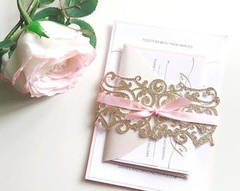 Glitter Swirl Wedding Invitation Wraps, Sparkle Gold Flourish, Luxury Invitation Belly Band, Invitation Suite, Glitter Wedding Invitations