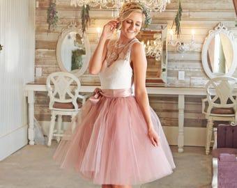 Dusty Pink Tulle Skirt Bow, Tulle Skirt Bridal, Women Tulle Skirt, Wedding Tulle Skirt, Dusty Pink Bridesmaids Skirt