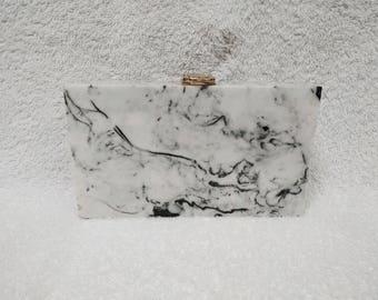 Classy White and Black Marble Clutch/Evening Clutch/Casual Clutch