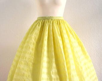 1950s canary yellow puffy  skirt with gathered waist - 50s circle nylon skirt XS 23 in waist